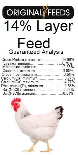 Original Feeds 14% Layer Feed (Non-GMO)