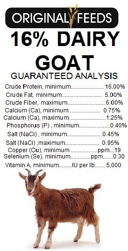 Original Feeds 16% Dairy Goat & Cow Feed (Non-GMO)